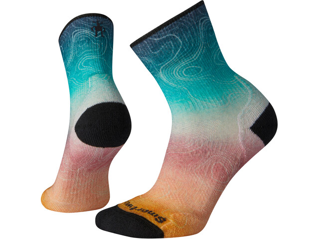 Smartwool PhD Outdoor Light Print Mid Crew Socks Women deep marlin